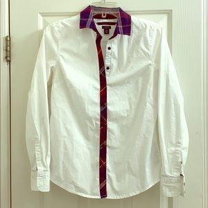 Tommy Hilfiger plaid white oxford shirt sz small